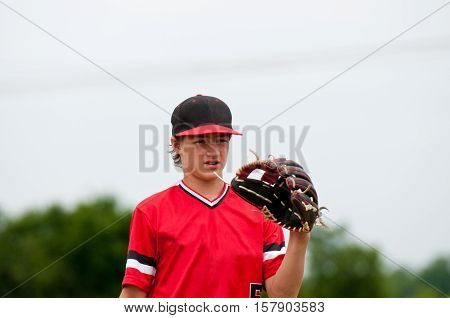 American baseball player close up during a game.
