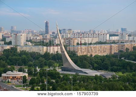 Megalopolis panorama with Obelisk Conquerors of Space in Moscow, Russia, Date of construction 1964