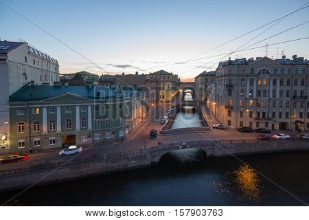 Neva river, Palace Embankment at evening in St. Petersburg, Russia