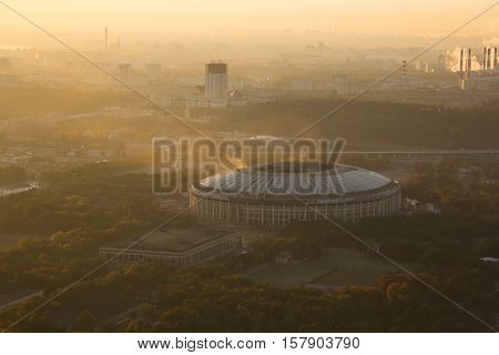 Luzhniki sport complex in foggy morning in Moscow, Russia, view from MSU