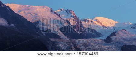 Mt. Blanc seen from Chamonix. Chamonix Auvergne-Rhone-Alpes France.