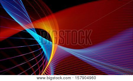 Colorful elegant abstract dynamic lines. Business and office theme. Abstract stylish wave background illustration. Depth of field settings. 3D rendering.