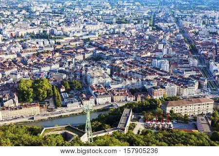 Grenoble-Bastille cable car. Grenoble Auvergne Rhone-Alpes France