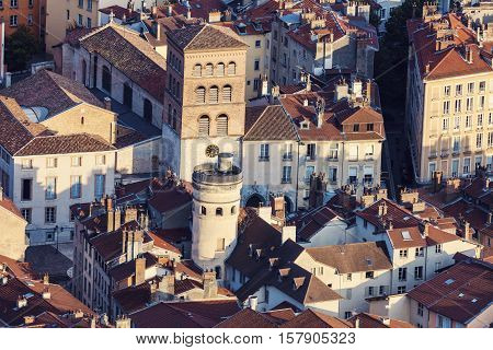 Grenoble architecture - aerial view. Grenoble Auvergne-Rhone-Alpes France