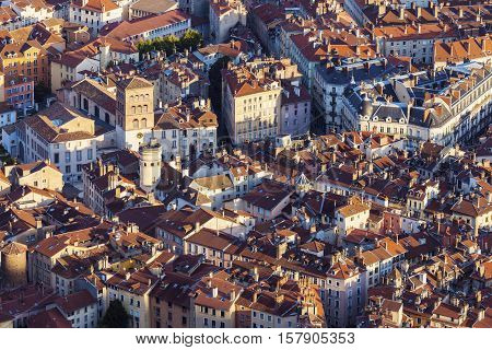 Grenoble architecture - aerial panorama. Grenoble Auvergne-Rhone-Alpes France.