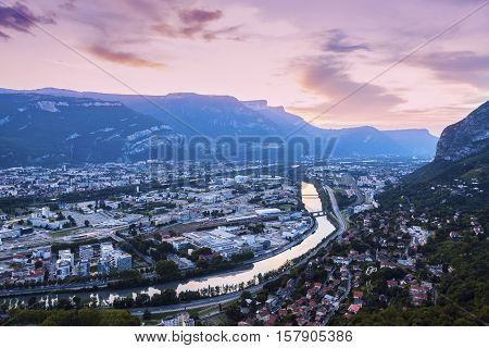 Grenoble at sunset. Grenoble Auvergne Rhone-Alpes France.