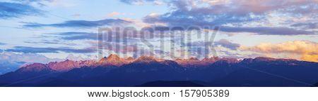 Massif de Belledonne seen from Grenoble. Grenoble Auvergne-Rhone-Alpes France.