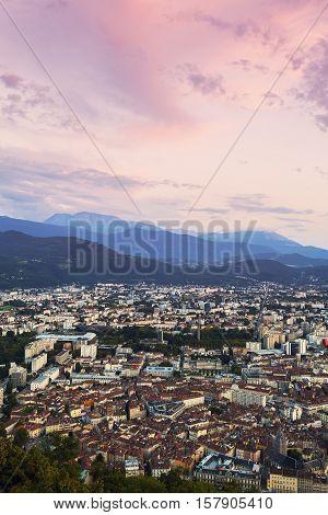 Grenoble at sunset. Grenoble Auvergne Rhone-Alpes France.