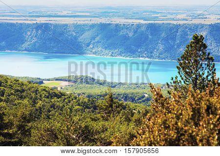 Lake of Sainte-Croix - distant view. Provence-Alpes-Cote d'Azur France.