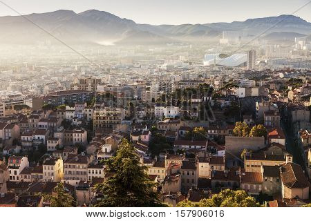 Architecture of Marseille - aerial view at sunrise. Marseille Provence-Alpes-Cote d'Azur France.