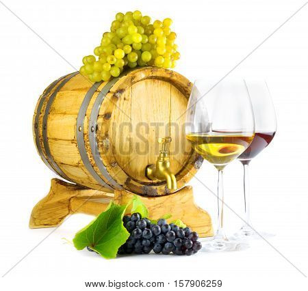 Red And White Wine On White Background