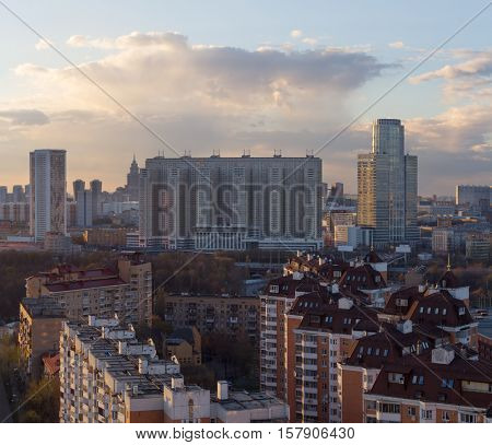 High residential buildings in sleeping area in evening in Moscow, Russia