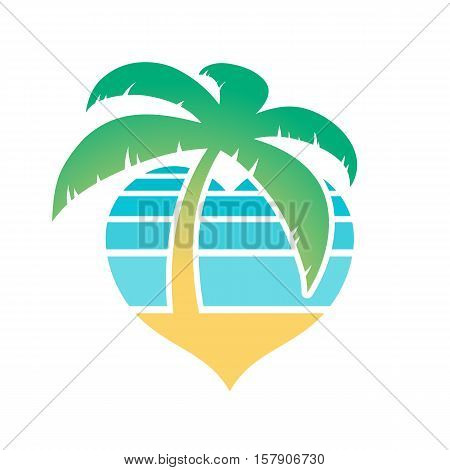 Heart shaped tropical beach and palm tree icon conceptual of travel and summer vacations isolated on white vector illustration