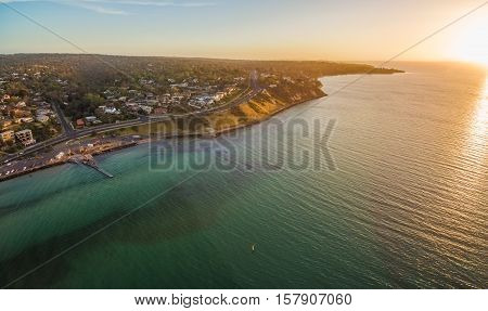 Aerial Panorama Of Mornington Peninsula Coastline And Nepeann Highway At Sunset, Australia.