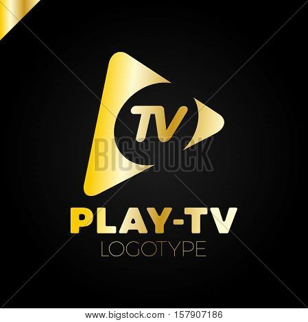 Dynamic, Fast Play Icon With Letter Tv In Middle. Media Company Logo Or Film Production Studio Or Au