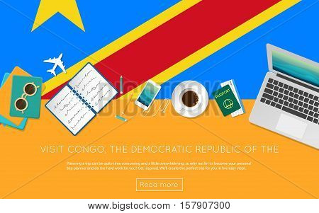 Visit Congo, The Democratic Republic Of The Concept For Your Web Banner Or Print Materials. Top View