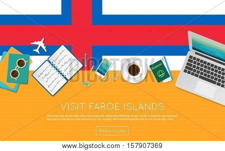 Visit Faroe Islands Concept For Your Web Banner Or Print Materials. Top View Of A Laptop, Sunglasses