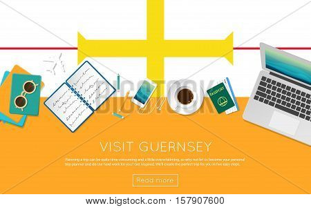 Visit Guernsey Concept For Your Web Banner Or Print Materials. Top View Of A Laptop, Sunglasses And
