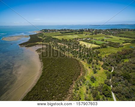 Aerial View Of Mangroves And Countryside At Rhyll, Australia