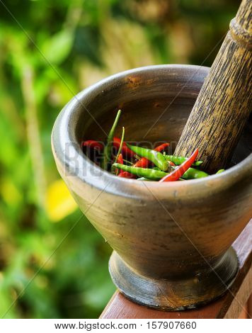 Red And Green Pepper In A Stone Mortar