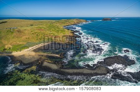 Aerial Panoramic View Of Phillip Island Coastline Near The Nobbies Centre And Round Island, Australi