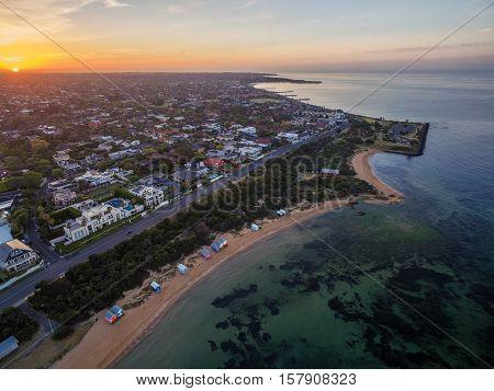 Aerial View Of Sunrise At Brighton Beach Coastline. Melbourne, Australia.