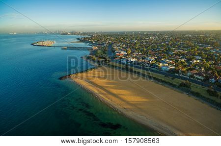 Aerial View Of Brighton Beach And Suburb At Sunrise. Melbourne, Australia
