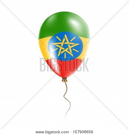 Ethiopia Balloon With Flag. Bright Air Ballon In The Country National Colors. Country Flag Rubber Ba
