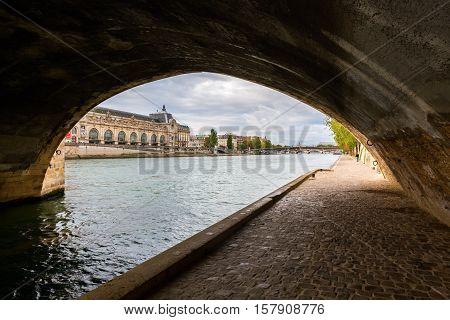 Underpass Of A Seine Bridge In Paris