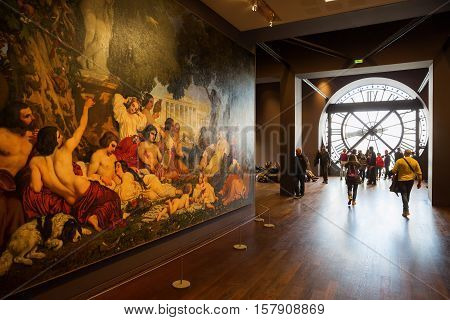 Artwork And Giant Clock In The Musee Dorsay In Paris