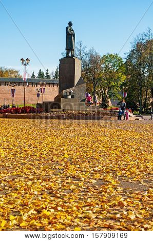 VELIKY NOVGOROD RUSSIA - OCTOBER 9 2016. Monument to V.I. Lenin -Russian communist revolutionary politician and political theorist. Sculpture landmark of Veliky Novgorod Russia