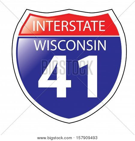 Layered artwork of Wisconsin I-41 Interstate Sign