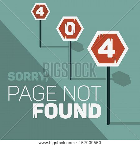 Oops, Error 404 Web Banner. Page Not Found. Stop Traffic Signs Along The Road. Bad Request. Vector Graphic.