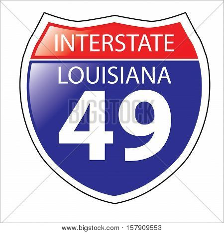 Layered artwork of Louisiana I-49 Interstate Sign