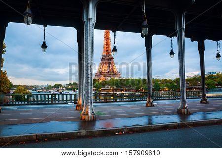 Eiffel Tower Viewed Through Bir Hakeim Bridge In Paris