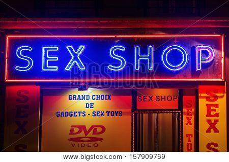 Sex Shops At Pigalle District In Paris