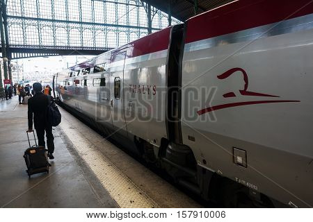 Thalys Train At The Station Gare Du Nord In Paris