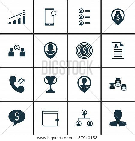 Set Of Human Resources Icons On Business Goal, Money Navigation And Business Deal Topics. Editable V