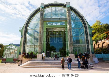 Paris France - October 16 2016: greenhouse in the Jardin des Plantes with unidentified people. The Jardin des Plantes is the main botanical garden in France