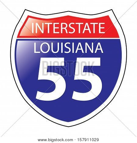 Layered artwork of Louisiana I-55 Interstate Sign