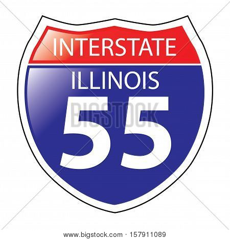 Layered artwork of Illinois I-55 Interstate Sign