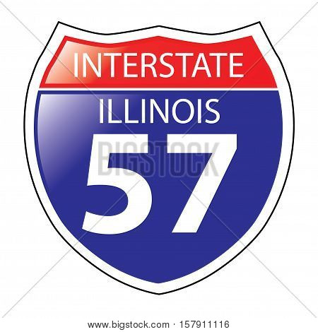 Layered artwork of Illinois I-57 Interstate Sign