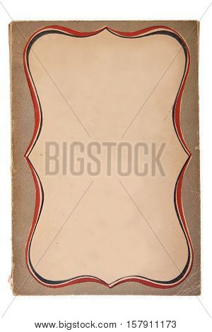 Old Book Cover on White Background with Copy Space