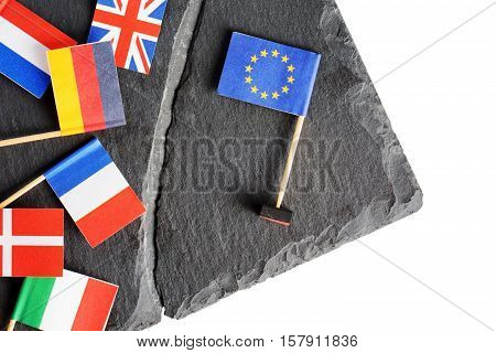 Political Concept With Flags Of The European Union (eu)