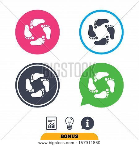 Baby footprints icon. Child barefoot steps. Toddler feet symbol. Report document, information sign and light bulb icons. Vector
