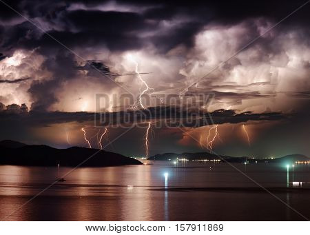 Beautiful Stormy Sky And Lightning Over Nha Trang Bay, Vietnam