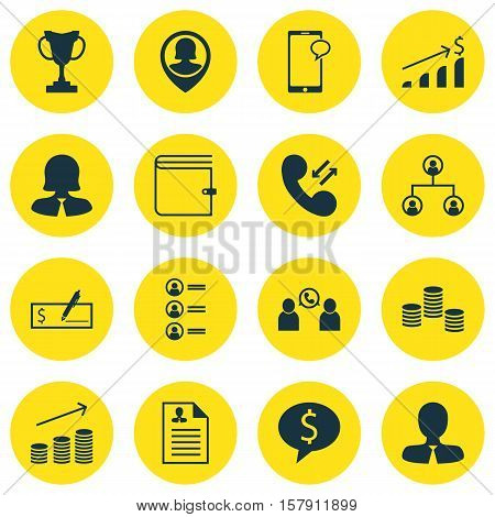 Set Of Human Resources Icons On Coins Growth, Wallet And Manager Topics. Editable Vector Illustratio