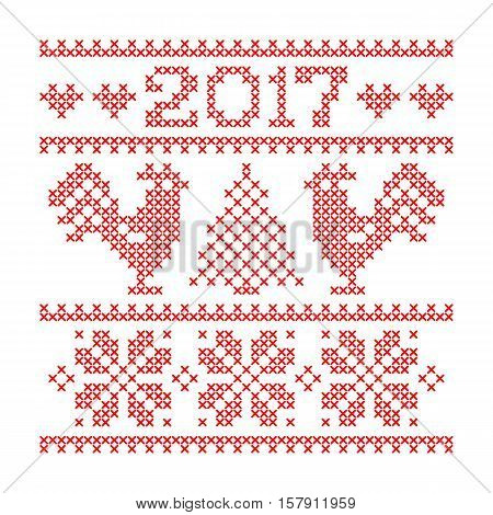 Colorful textured sillhouette of deer head with christmas tree toys on horns and text Merry Christmas isolated on white background. Art vector illustration.