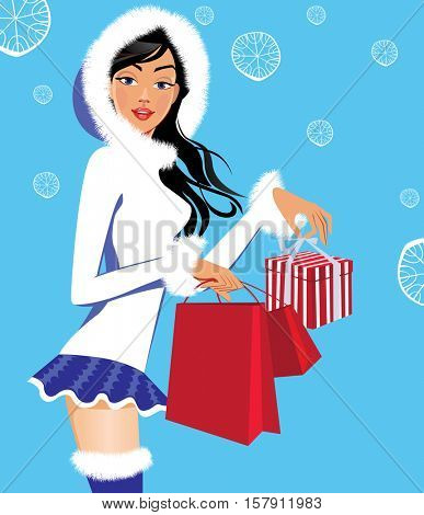 fashionable girl in winter clothes with christmas gifts, woman beauty face