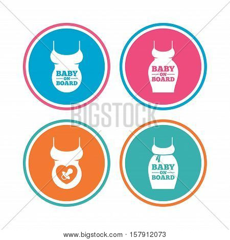 Baby on board icons. Infant caution signs. Child pacifier nipple. Pregnant woman dress with big belly. Colored circle buttons. Vector